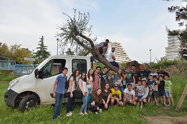 Appena arrivati a Scampia con l'albero d'olivo